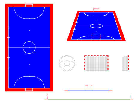Futsal Court with Sections and Perspective Illustration