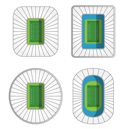 scrimmage: Set of American Football Stadiums  Illustration