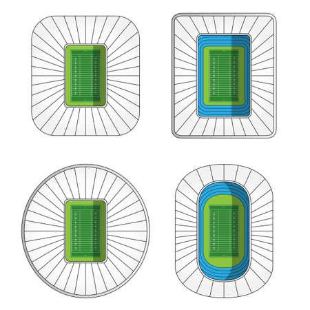 outdoor seating: Set of American Football Stadiums  Illustration