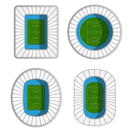outdoor seating: Set of Football Stadiums  Illustration