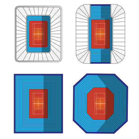 raquet: Set of Tennis Stadiums  Illustration