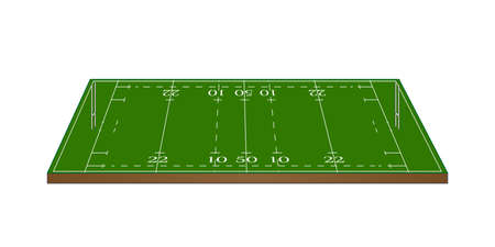 Rugby Union Field 3D with Goalposts