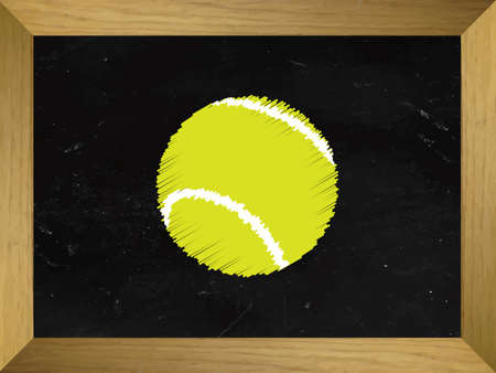 raquet: Tennis Ball Drawn on a Chalkboard