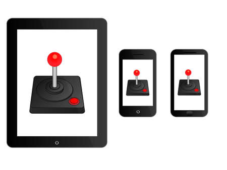 arcade: Black Mobile Devices with Arcade Joystick