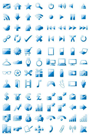 business: 96 Icons Set Crystal Blue Illustration