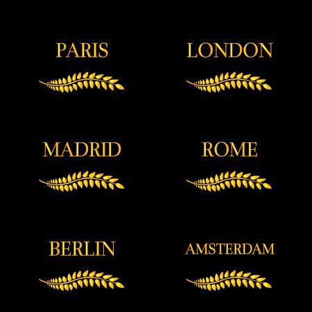 chapiteaux: Laurel Couronnes capitales europ�ennes Illustration