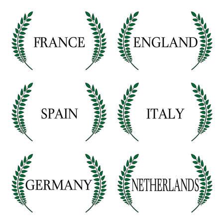 유럽의: 로렐 화환 유럽 국가