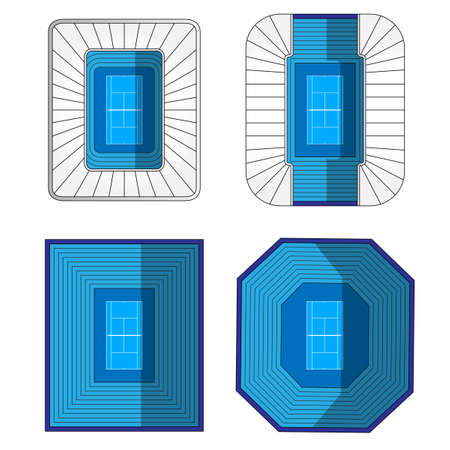 hard court: Set of Tennis Stadiums  Illustration