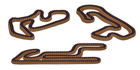 Race Tracks 3D Perspective  Illustration