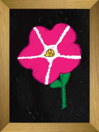 petunia: Pink Petunia Drawn on a Chalkboard Illustration
