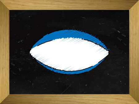 Rugby Ball Drawn on a Chalkboard Illustration