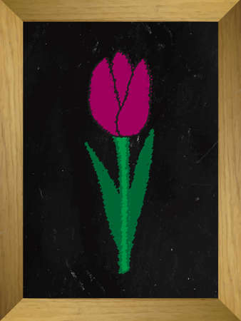 february 14th: Tulip Drawn on a Chalkboard