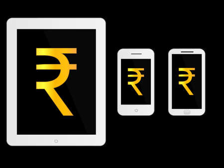 mobile devices: White Mobile Devices with Rupee Sign Illustration