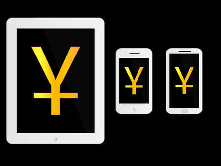 mobile devices: White Mobile Devices with Yuan Sign