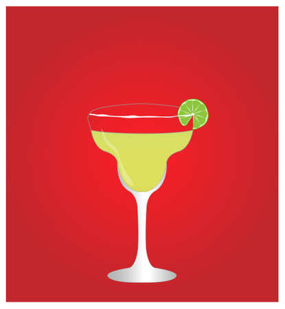 margarita: Minimalist Drinks List with Margarita Red Background  Illustration