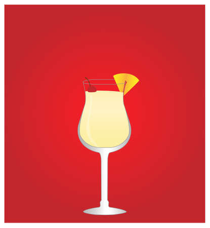 Minimalist Drinks List with Pina Colada Red Background