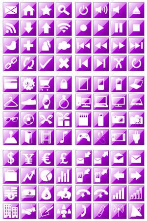 media gadget: 96 Icons Set Crystal Purple Background
