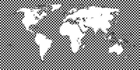 mundi: World Map Checkered Black 1 Big Squares