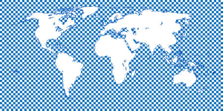 mundi: World Map Checkered Blue 1 Big Squares