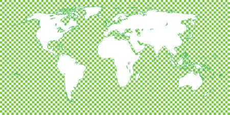 mundi: World Map Checkered Green 1 Big Squares Illustration