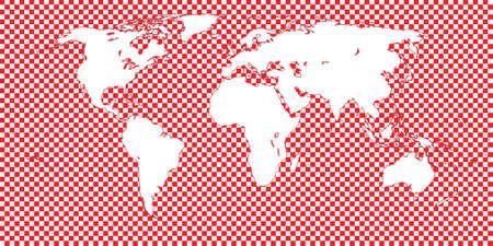 mundi: World Map Checkered Red 1 Big Squares