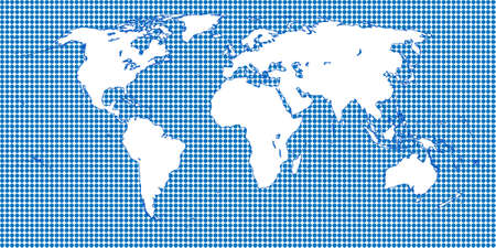 A world map based on the miller cylindrical projection royalty free vector 42937927 world map dotted blue 1 big dots gumiabroncs Gallery