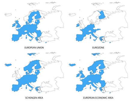 유럽의: Maps of European Areas without Borders 일러스트