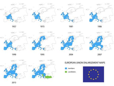 유럽의: Maps of European Union Enlargements without Borders