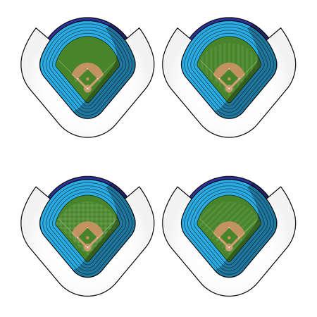 outdoor seating: Set of Baseball Stadiums
