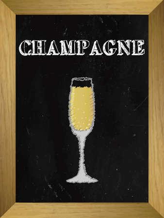 champagne celebration: Champagne List on a Chalkboard