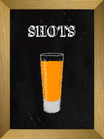 shooter drink: Shooters List on a Chalkboard 1 Illustration
