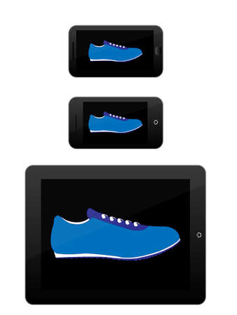 mobile devices: Black Mobile Devices with Sport Shoes