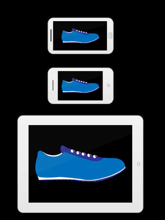 mobile devices: White Mobile Devices with Sport Shoes