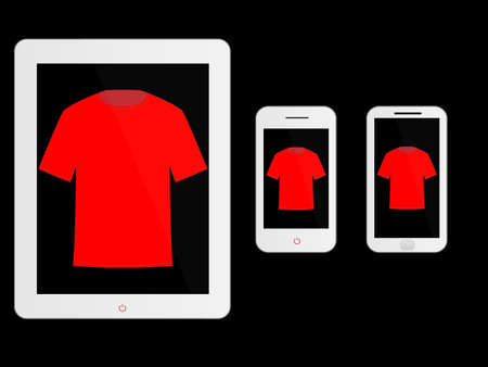 mobile devices: White Mobile Devices with T-Shirt Illustration