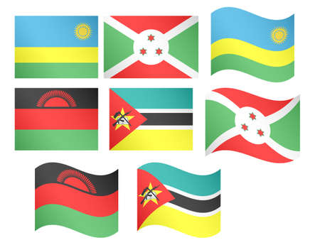 African Flags 11 illustrations