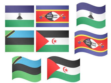 African Flags 14 illustrations Illustration