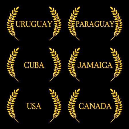 Laurel Wreaths America Countries 6