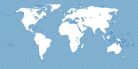 medium: World Map Checkered Blue 2 Medium Squares Illustration