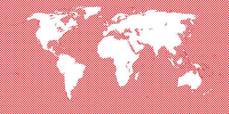 mundi: World Map Checkered Red 2 Medium Squares