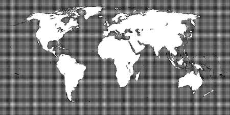 mundi: World Map Dotted Black 2 Medium Dots Illustration