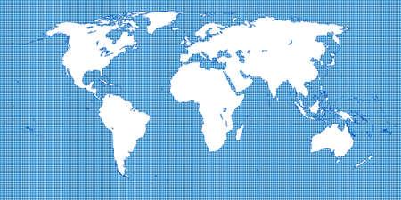 World Map Dotted Blue 2 Medium Dots Illustration