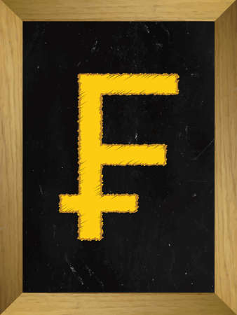 swiss franc: Swiss Franc Currency Sign on to Chalkboard Illustration