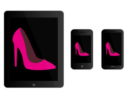 smart phone woman: Mobile Devices With Black Stilettos