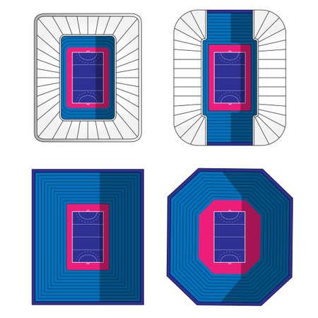 outdoor seating: Set of Field Hockey Stadiums 2 Illustration