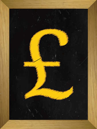 free enterprise: Pound Currency Sign on a Chalkboard Illustration