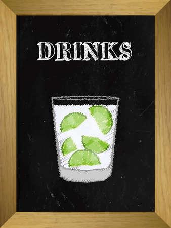 shooter drink: Drinks on a Chalkboard List 3 Illustration