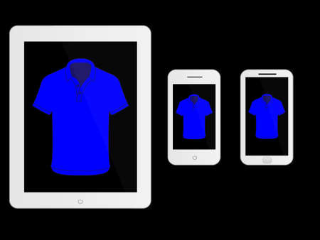mobile devices: Mobile Devices With White Polo Shirt