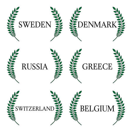 european countries: Laurel Wreath 5 European Countries Illustration