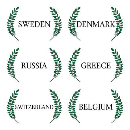 euro area: Laurel Wreath 5 European Countries Illustration