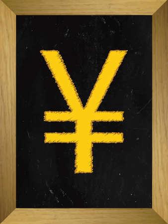 salts: Yen Currency Sign on a Chalkboard Illustration